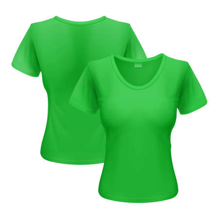 Womens green T-shirt isolated on white background Vector