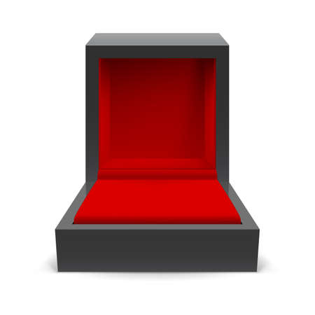 jewelry boxes: Open black box for jewelry on a white background Illustration
