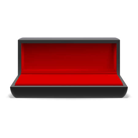 jewel case: Open rectangular box for jewelry with a red interior on  white background