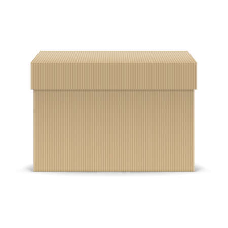 closed box: Closed cardboard box isolated on white background Illustration