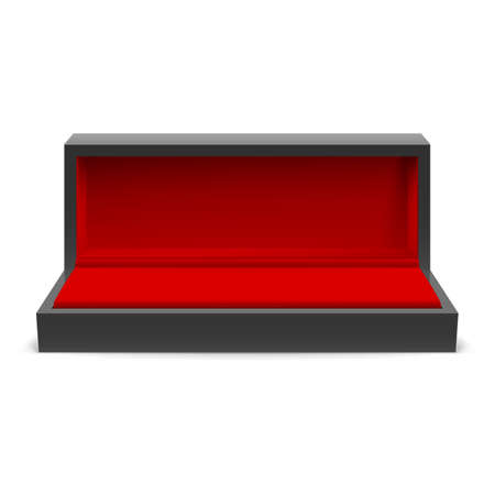 jewel case: Open rectangular box for jewelry with a red interior on a white background
