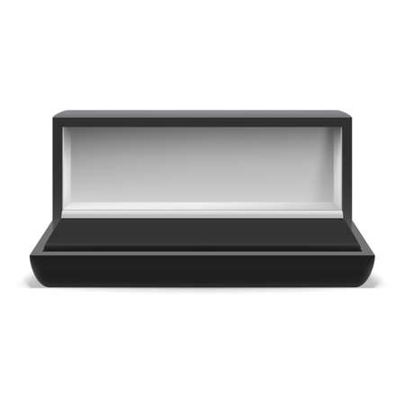 jewelry boxes: Open rectangular box for jewelry on  white background Illustration
