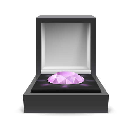 Open box for jewelry with diamond inside on white background