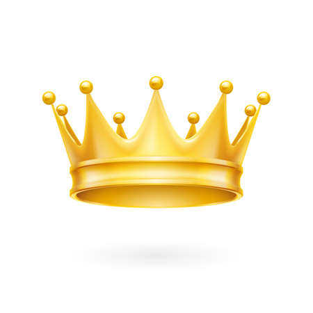 majesty: Royal attribute golden crown isolated on a white background