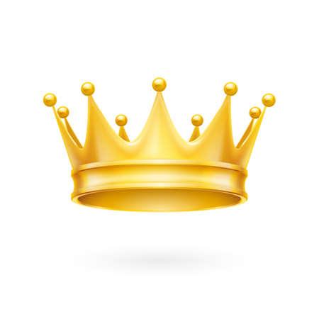 attribute: Royal attribuut gouden kroon geïsoleerd op een witte achtergrond Stock Illustratie