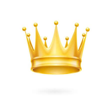royal crown: Oro corona atributo real aislado en un fondo blanco