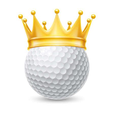 白で隔離ゴルフ ボールの黄金の王冠