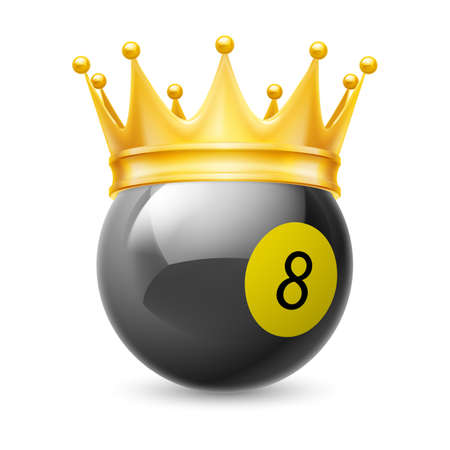 8 ball billiards: Gold crown on a billiard ball isolated on white