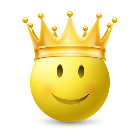 yellow crown: Gold crown on a yellow smiley face, isolated on white