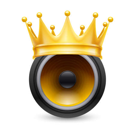 acoustic systems: Gold crown on a musical dynamics isolated on white background