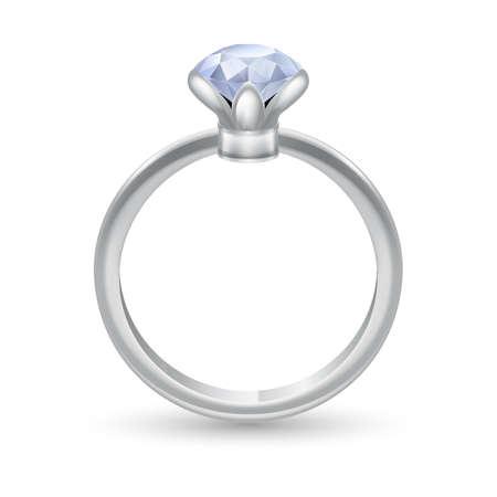 piedras preciosas: Anillo de plata con piedras preciosas aislados en blanco