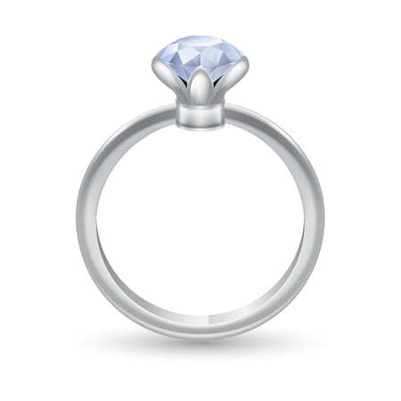 engagement ring: Silver ring with precious stones isolated on white