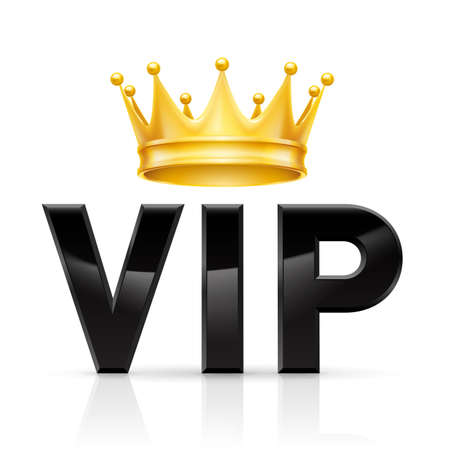 vip symbol: Golden crown on the acronym VIP on a white background