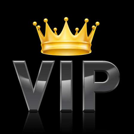 couronne royale: Couronne d'or sur l'acronyme VIP sur un fond noir Illustration