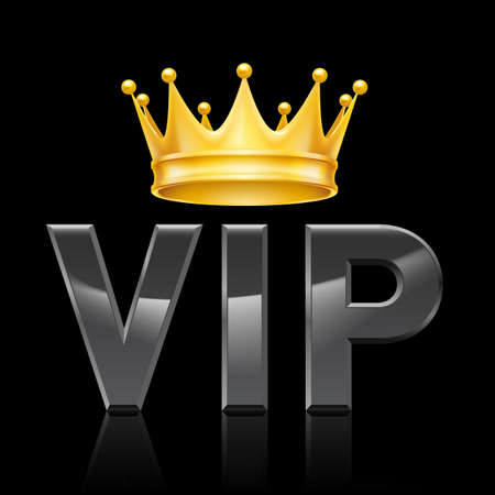 royals: Golden crown on the acronym VIP on a black background