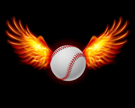fiery: Baseball fiery wings, a color illustration on a black background