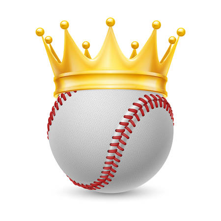 baseball cartoon: Gold crown on a baseball isolated on white