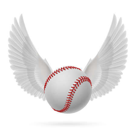 rebirth: Realistic baseball emblem with white wings for design Illustration