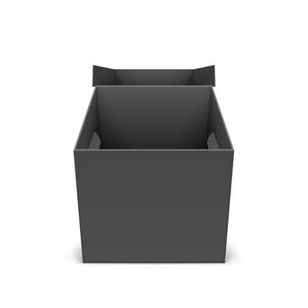 illustraion: Illustraion of open black cardboard boxes on a white Illustration