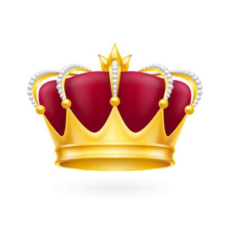 로얄 디자인을위한 흰색 배경에 고립 된 황금 왕관 속성