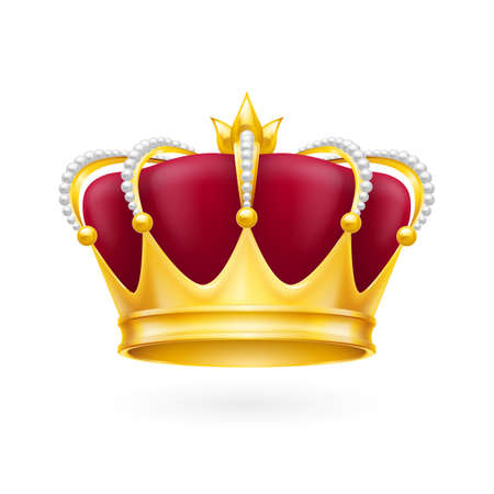 Royal attribute golden crown isolated on the white background for design
