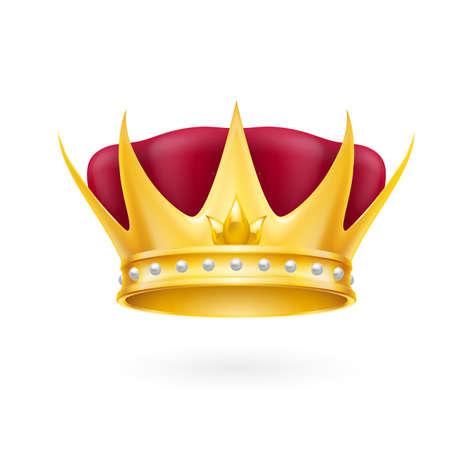 attribute: Gouden kroon koninklijke attributen die op een witte Stock Illustratie