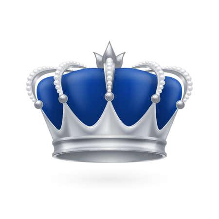 corona reina: Corona de plata real sobre un fondo blanco para el diseño