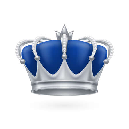 Royal silver crown on a white background for design Çizim