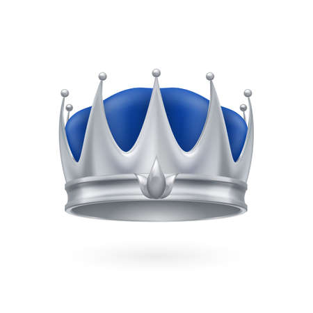 Royal silver crown isolated on a white background for design Vector