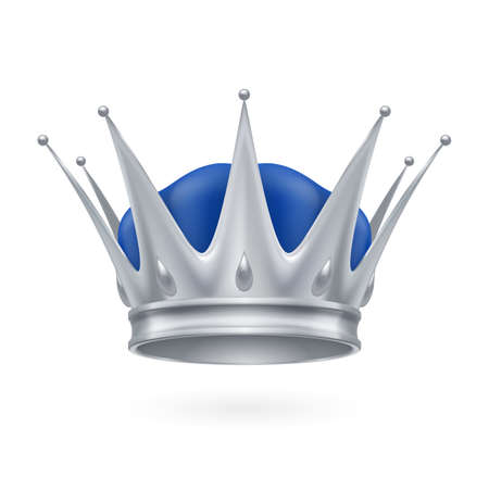 Royal silver crown isolated on a white background Illustration