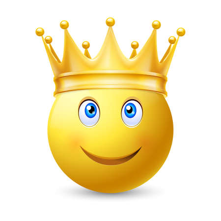 Gold crown on a smiley face, on white background Illustration