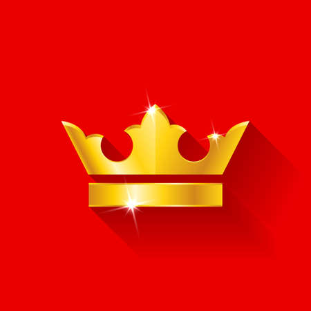 throne: Gold crow flat style isolated on red background Illustration