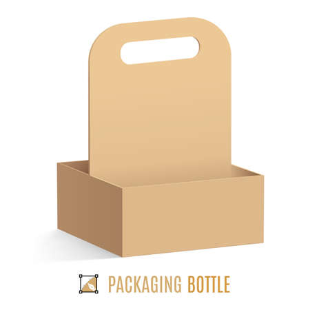 packaging industry: Cardboard packaging for bottles isolated on a white background
