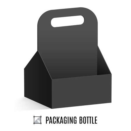packaging industry: Black cardboard packaging for bottles isolated on a white background