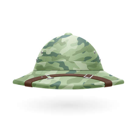 colonizer: Cork camouflage hat isolated on a white background Illustration