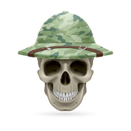 expeditionary: Cork camouflage hat on skull isolated on  white background