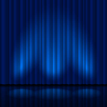 blue curtain: Realistic blue curtain. Illustration for creative design