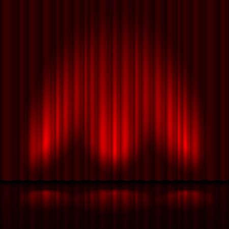 赤いカーテンと 3 つのスポット ライトとステージ。 デザイナーのイラスト