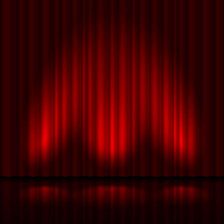 Stage with red curtain and three spot light.  Illustration of the designer