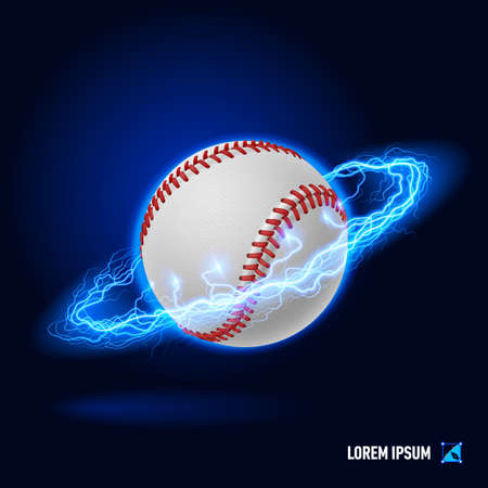 tense: Baseball in blue flashes and lighting circle