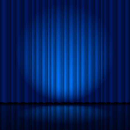 stage lights: Fragment dark blue stage curtain. Illustration for creative designer