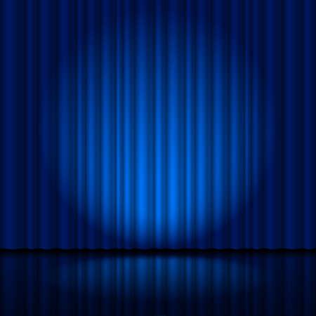 sipario chiuso: Tenda blu scuro Frammento palco. Illustrazione per il progettista creativo