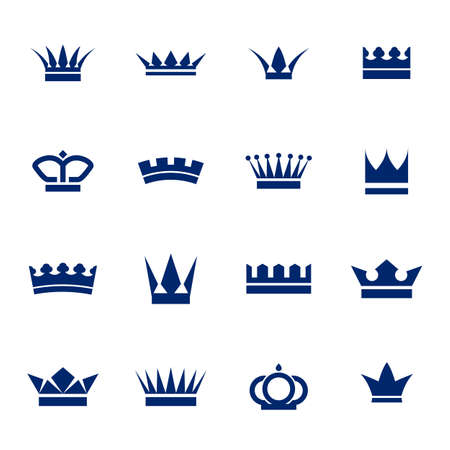 crown logo: Set of icons crowns isolated on white background