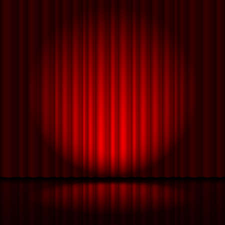 circus stage: Red curtain from the theatre with a spotlight