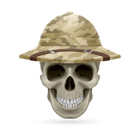expeditionary: Cork camouflage hat on skull isolated on a white background