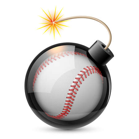 Abstract baseball shaped like a bomb. Illustration on white background for design Vector