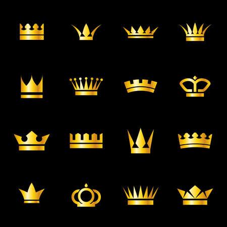 黒の背景に分離された黄金の冠のアイコンのセット