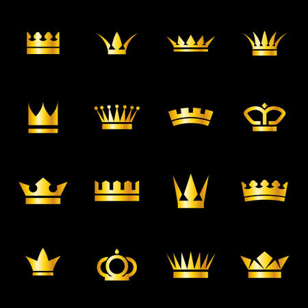 crown logo: Set of icons  golden crowns isolated on   black background