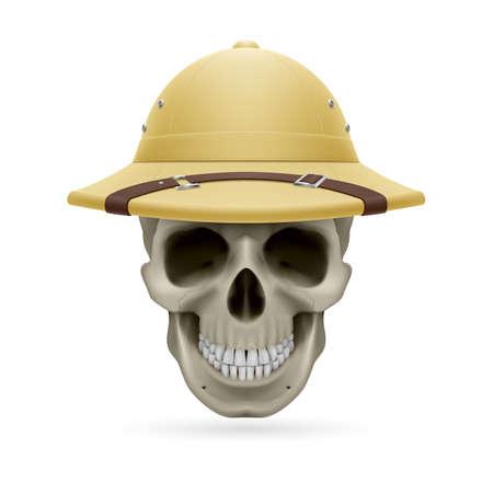 expeditionary: Pith helmet on skull isolated on white background Illustration