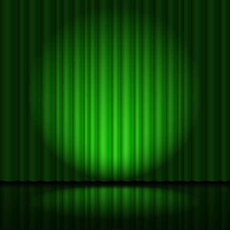 cortinas: Etapa con la cortina verde y el proyector grande, en forma de corazón